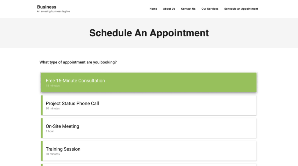 Simply Schedule Appointments page builder