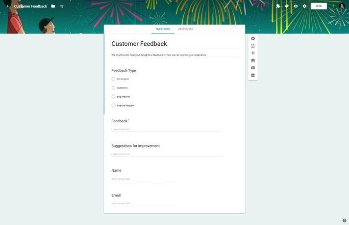 Google Forms Customer Feedback