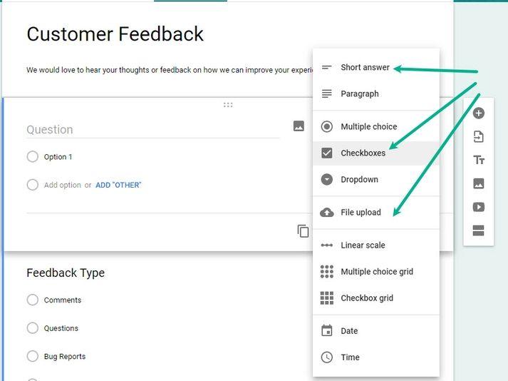 Google Forms Customer Feedback Dropdown Button