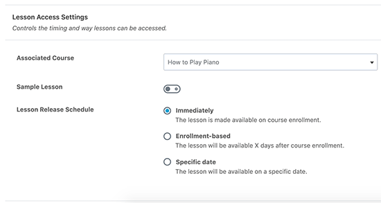 Lesson Access Settings