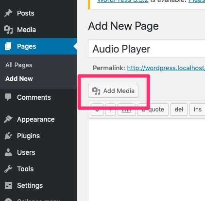 Audio Player Add Media