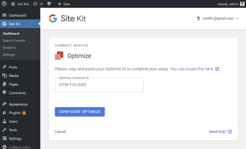 Site Kit Configure Optimize