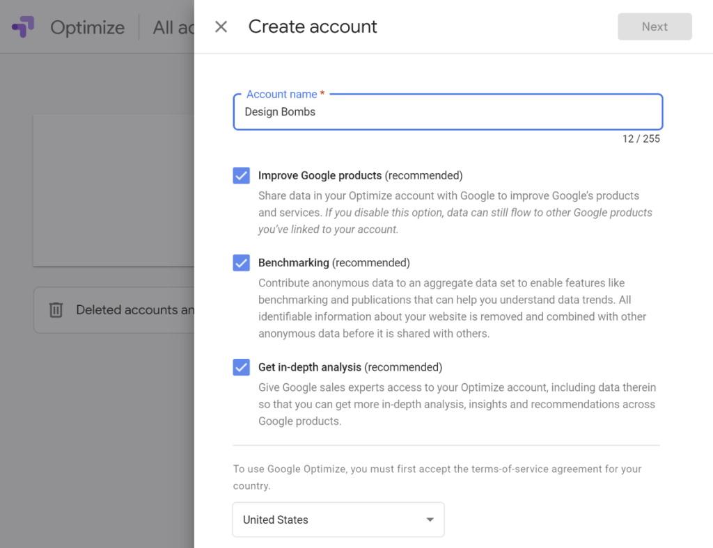 Google optimize account fields