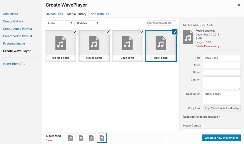 Create WavePlayer
