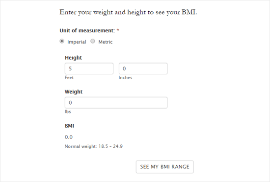 BMI calculator text