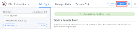 save changes to the style
