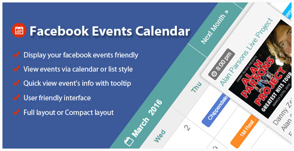 Facebook Events Calendar