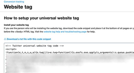website tag code