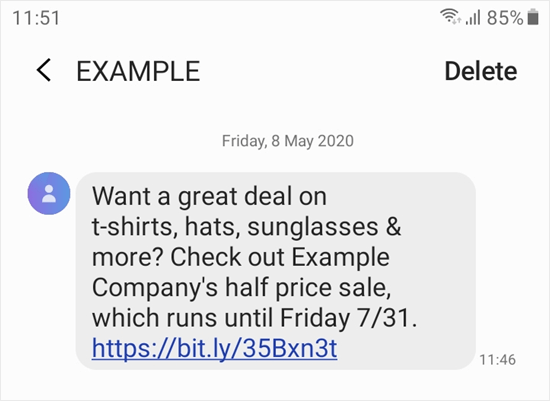 example text on phone