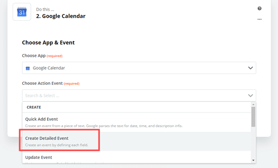 Create Detailed Event option