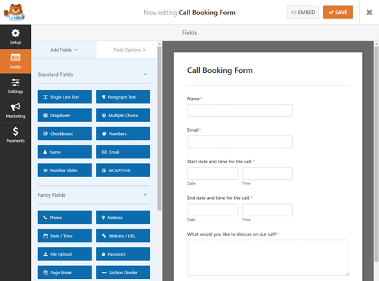 call booking form