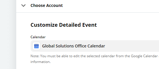 Customize Detailed Event section
