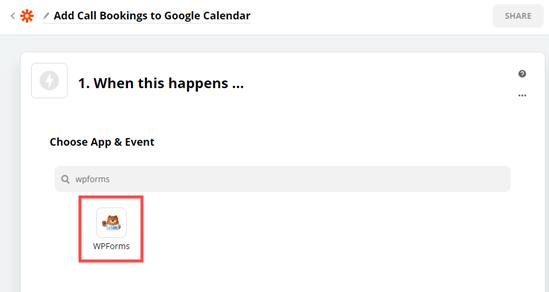 Choose App & Event box
