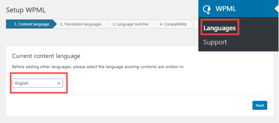 select the language