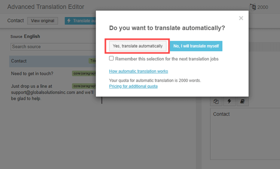 Yes, translate automatically button