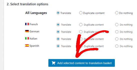 Add selected content to translation basket button