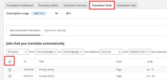 Translation Tools tab