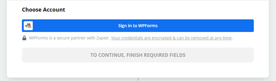 Sign in to WPForms button