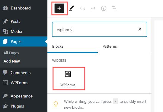 add a WPForms block