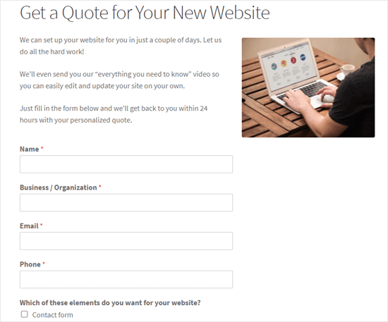 request a quote form demo