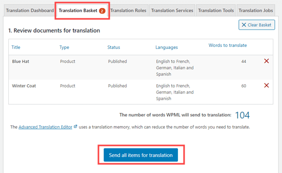 Send all items for translation