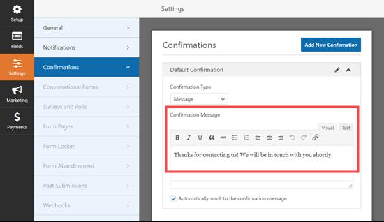 confirmation message box