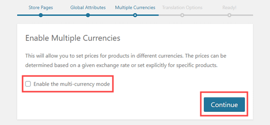 Enable the multi-currency mode box