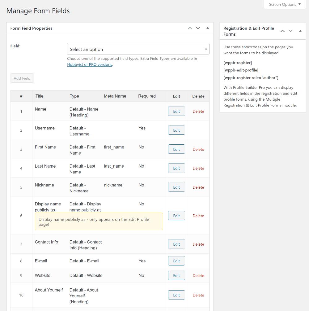 Profile Builder dashboard