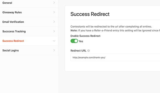 Success Redirect tab