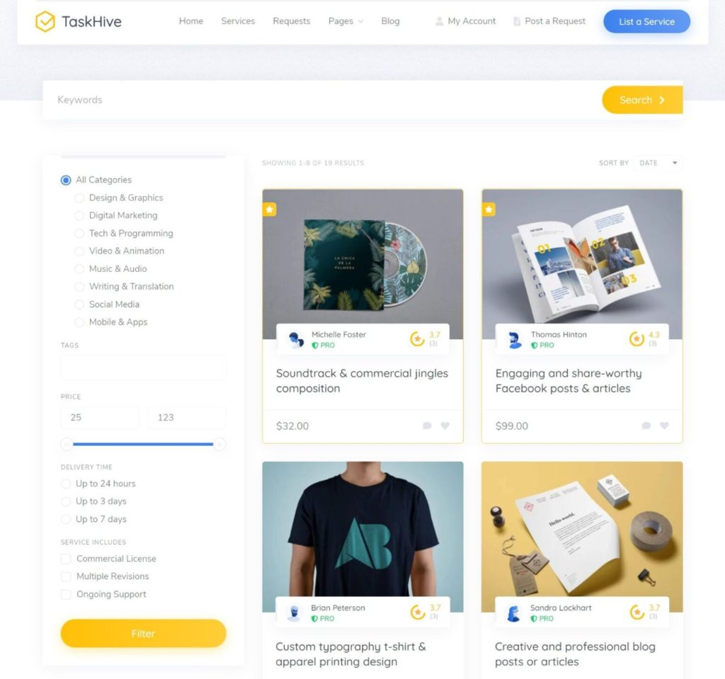TaskHive service listing page