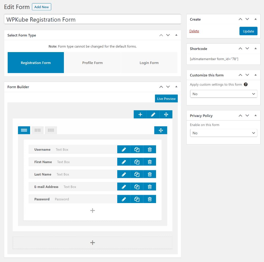 Ultimate Member dashboard