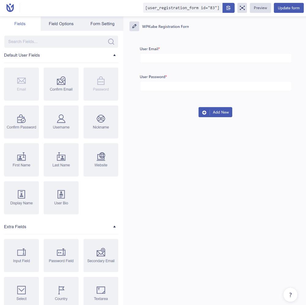 User Registration dashboard