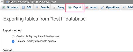 Export tab