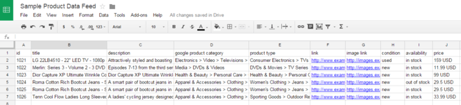 Google Merchant Center feed